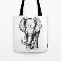 ornate elephant Tote Bags featuring Ornate elephant by Creadoorm