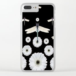 SURREAL WHITE DRAGONFLIES FLOWERS BLACK COLOR PATTERNS Clear iPhone Case