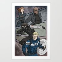 the winter soldier Art Prints featuring Winter Soldier by DeanDraws