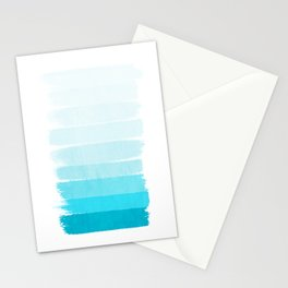 Isla - Ombre Brushstroke - Blue Turquoise, Bright, Summer, Tropical, Beach Ocean Stationery Cards
