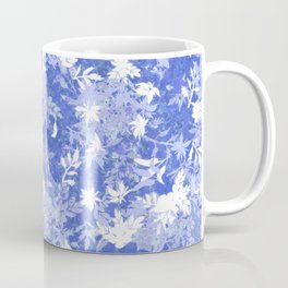 Elegant Abstract Floral Silhouettes Pattern in Classic Blue Coffee Mug