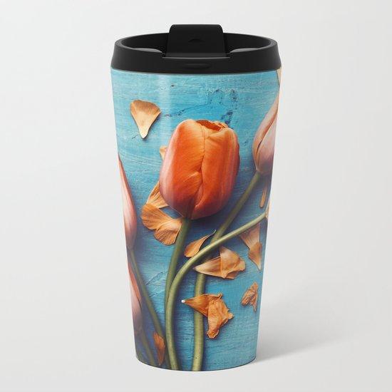 Orange Tulips Metal Travel Mug