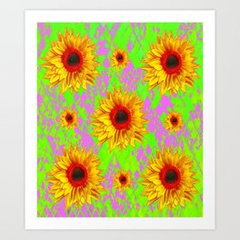 Scarlet Centered Sunflower Lilac-Chartreuse Art Art Print