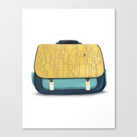 backpack Canvas Prints featuring Backpack by Word Parlor