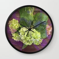 hydrangea Wall Clocks featuring hydrangea by Federico Faggion