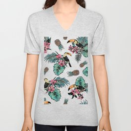Tucan Tropical Pattern Unisex V-Neck