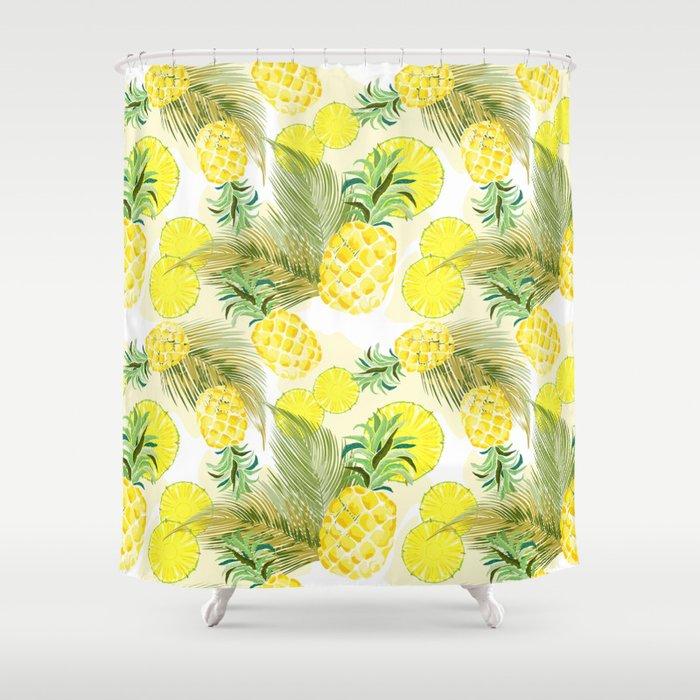 Pineapple Watercolor Fresh Summer Fruit Shower Curtain