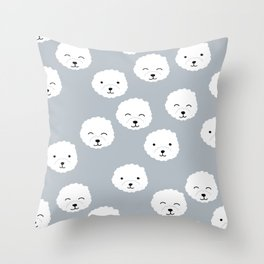 Little fluffy white puppy Pomeranian dog print kids design Throw Pillow