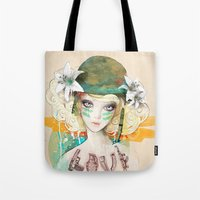 war Tote Bags featuring War girl by Ariana Perez