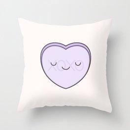 XOXO Candy Heart - Lilac Throw Pillow