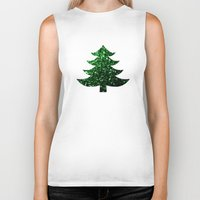 sparkles Biker Tanks featuring Christmas tree green sparkles by PLdesign