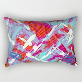 Vibrant Blue White and Red Abstract Art Rectangular Pillow