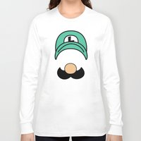 luigi Long Sleeve T-shirts featuring Misfit Luigi by cudatron