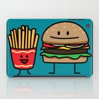 french fries iPad Cases featuring Happy Cheeseburger and French Fries by Berenice Limon