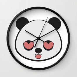 Panda Love Valentine Wall Clock