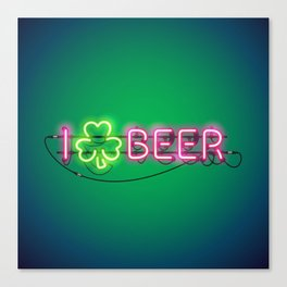 I Like Beer Neon Sign Canvas Print