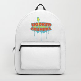 Hooked On Being A Grandpa Grandfather Fisherman Backpack