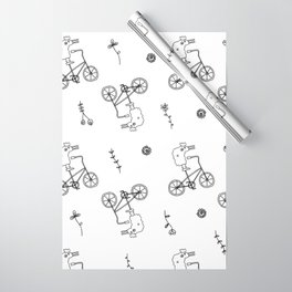 chicken on a bike pattern Wrapping Paper