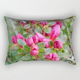 Crimson Azalea Buds Rectangular Pillow