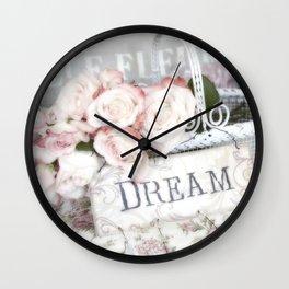 Shabby Chic Basket Dream Roses Wall Clock