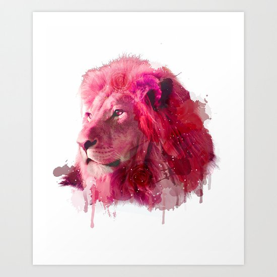 Rose Lion Art Print