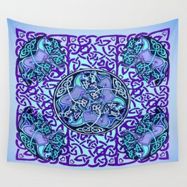 7 Blue Celtic Horses Wall Tapestry