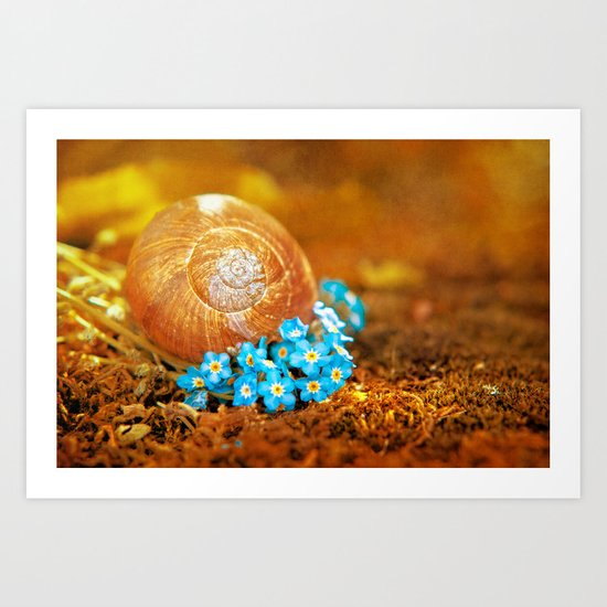 Golden snail house in a bed of forget-me-not Art Print
