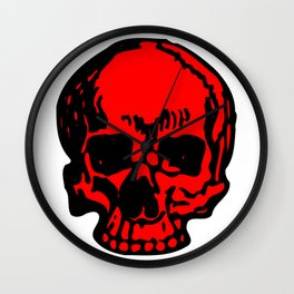 Red Pirate Skull, Vibrant Skull, Super Smooth Super Sharp 9000px x 11250px PNG Wall Clock