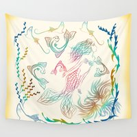 mermaid Wall Tapestries featuring Mermaid by famenxt