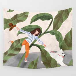 Going On A Walk Wall Tapestry