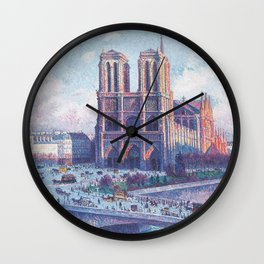 Notre Dame Cathedral, Paris, France Masterpiece by Maximilian Luce Wall Clock