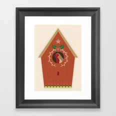 Red Bird House Framed Art Print