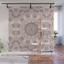 47 Wisteria Circle - Vintage Cream and Lavender Purple Mandala Wall Mural