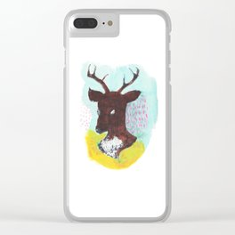The Painterly Deer Clear iPhone Case