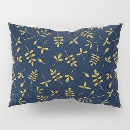 Gold Leaves Design on Dark Blue Pillow Sham