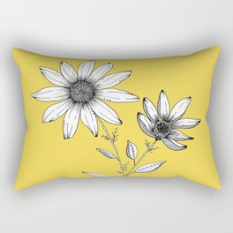 Wildflower line drawing | Botanical Art Rectangular Pillow