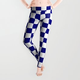 Navy Blue and White Large Check Leggings