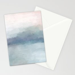 Blush Pink Mint Sky Baby Blue Abstract Ocean Sky Sunrise Wall Art Water Clouds Painting Print Stationery Cards