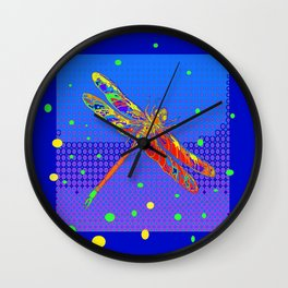Orange Dragonfly Sun Spots Blue Abstract Art Wall Clock
