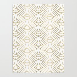 Gold and white geometric Art Deco pattern Poster