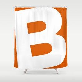 Sans Serif B. White on Red Orange. Shower Curtain