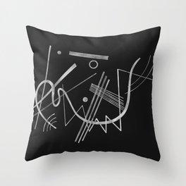 Kandinsky - Black Background Abstract art Throw Pillow