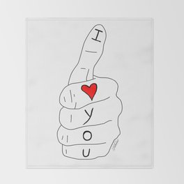 I love you - thumbs up Throw Blanket
