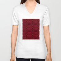 persian V-neck T-shirts featuring Persian rugs by Vargamari