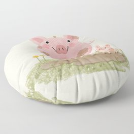 Piggies in a Mud Puddle Floor Pillow
