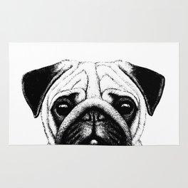 Black White Pug Pencil Sketch Rug