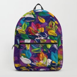 Wild Flowers on Purple Background Backpack