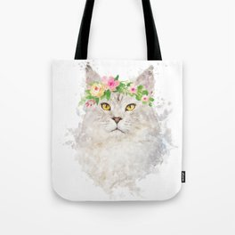 Boho cat portrait with flower crown Tote Bag