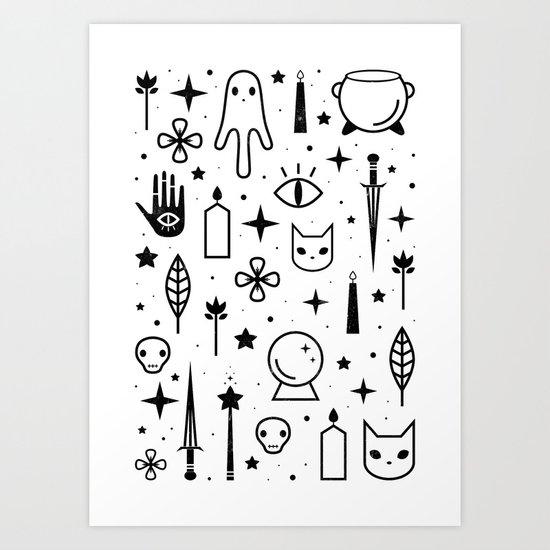 Spirit Symbols White Art Print