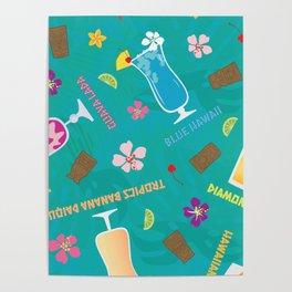 Hilton Hawaiian Village Tropical Mixed Drinks Toss Poster